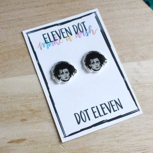 Edward Scissorhands Johnny Depp Face Stud Earrings
